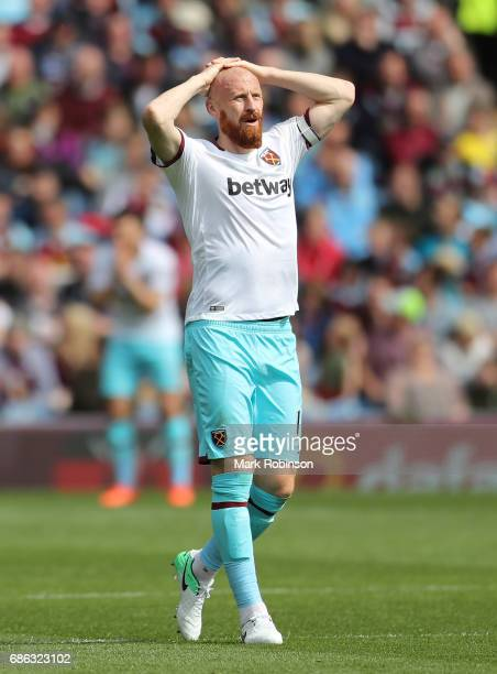 James Collins of West Ham United reacts during the Premier League match between Burnley and West Ham United at Turf Moor on May 21 2017 in Burnley...