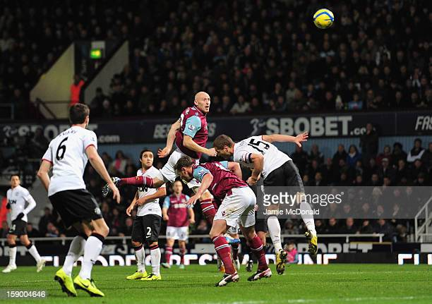 James Collins of West Ham United scores his second goal during the FA Cup with Budweiser Third Round match between West Ham United and Manchester...
