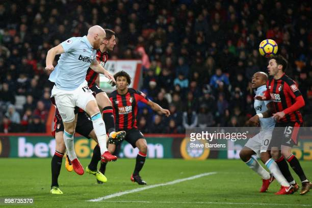 James Collins of West Ham United scores his sides first goal during the Premier League match between AFC Bournemouth and West Ham United at Vitality...