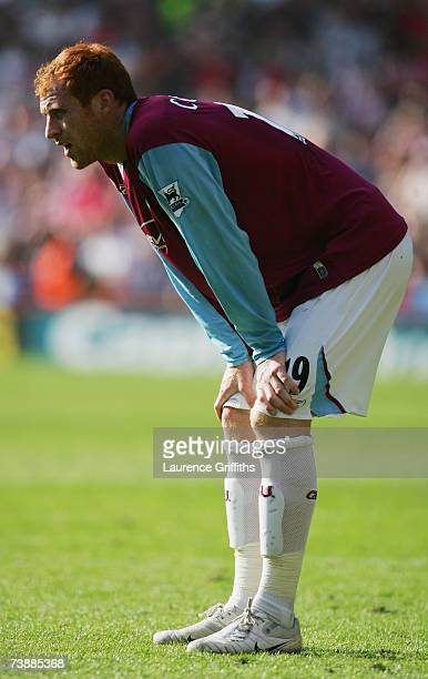 James Collins of West Ham United shows his dejection following his team's defeat at the end of the Barclays Premiership match between Sheffield...