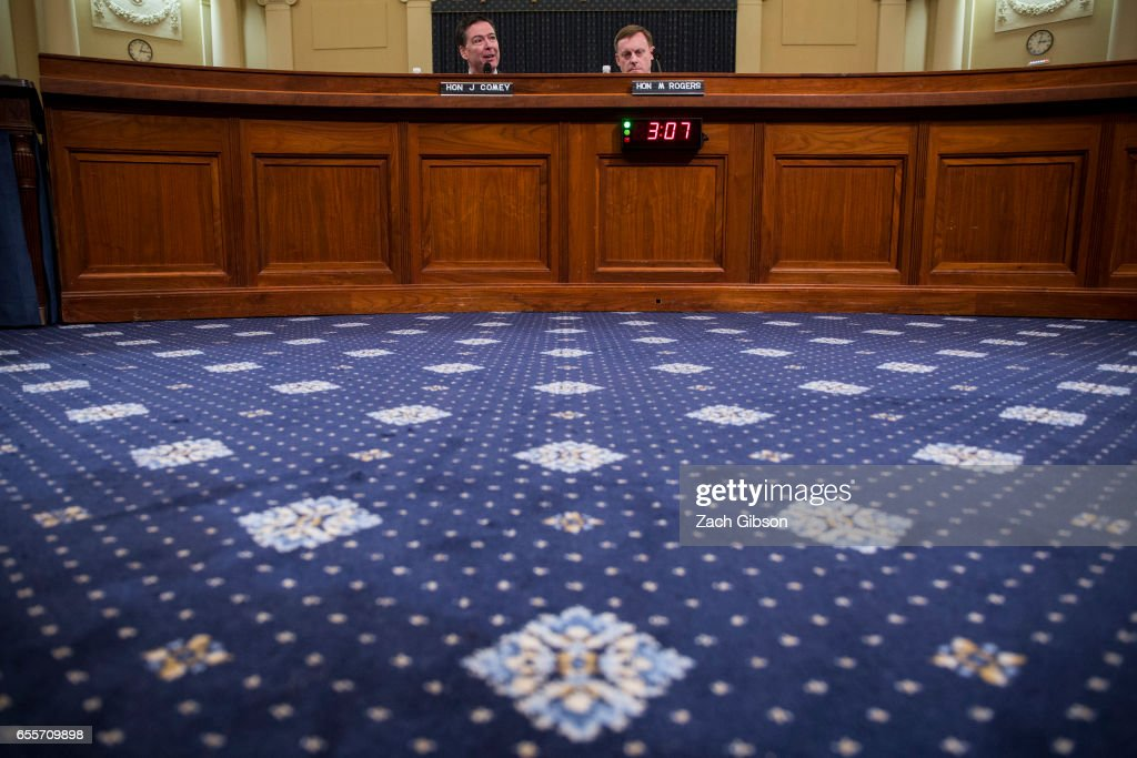 James Comey, Director of the Federal Bureau of Investigation (FBI), and Michael Rogers, Director of the National Security Agency, testify during a House Permanent Select Committee on Intelligence hearing concerning Russian meddling in the 2016 United States election, on Capitol Hill, March 20, 2017 in Washington, DC. While both the Senate and House Intelligence committees have received private intelligence briefings in recent months, Monday's hearing is the first public hearing on alleged Russian attempts to interfere in the 2016 election.