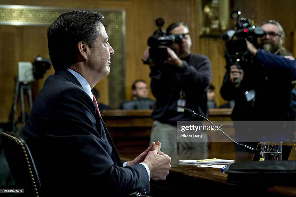 James Comey, director of the Federal Bureau of Investigation (FBI), arrives to a Senate Judiciary Committee in Washington, D.C., U.S., on Wednesday, Dec. 9, 2015. The California couple who fatally shot 14 people last week in what authorities are calling a terror attack had become radicalized and discussed martyrdom at least two years ago, Comey said. Photographer: Andrew Harrer/Bloomberg via Getty Images