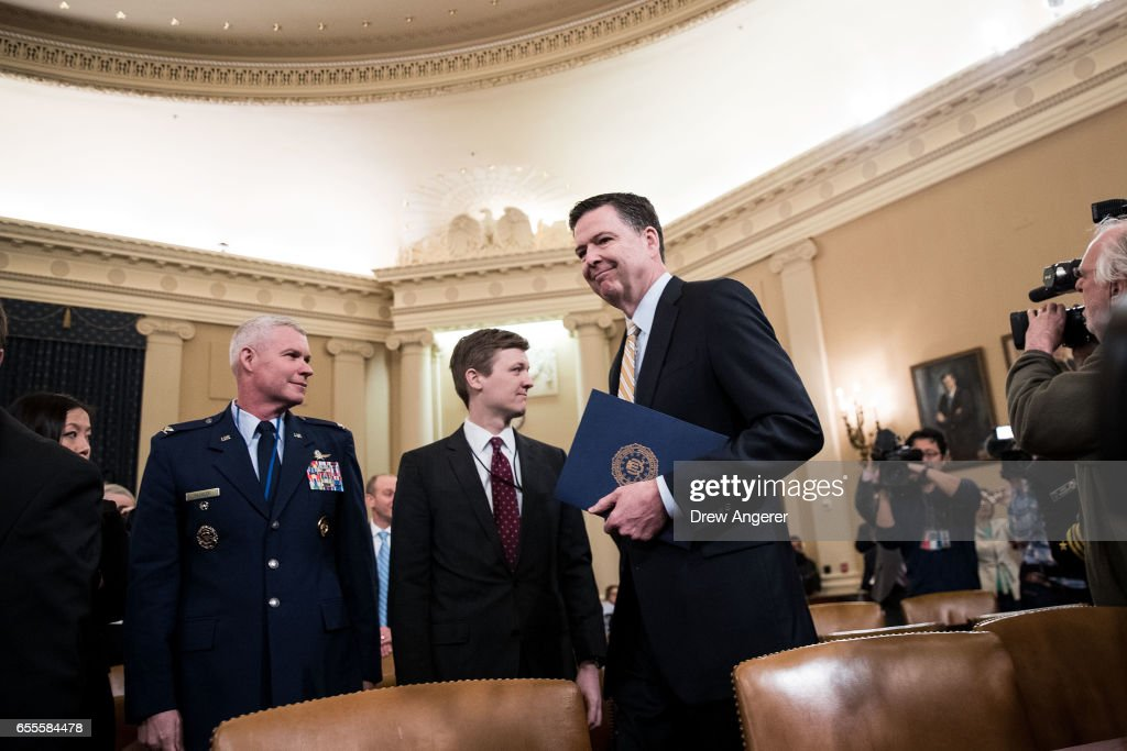 James Comey, Director of the Federal Bureau of Investigation (FBI), arrives for a House Permanent Select Committee on Intelligence hearing concerning Russian meddling in the 2016 United States election, on Capitol Hill, March 20, 2017 in Washington. While both the Senate and House Intelligence committees have received private intelligence briefings in recent months, Monday's hearing is the first public hearing on alleged Russian attempts to interfere in the 2016 election.