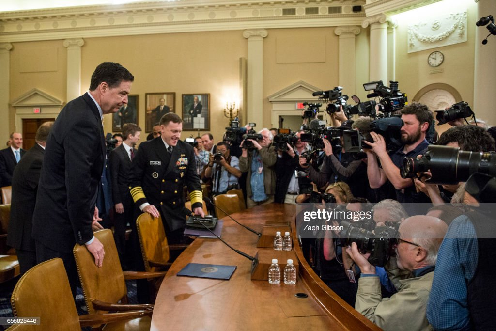 James Comey, Director of the Federal Bureau of Investigation (FBI), arrives at the start of a House Permanent Select Committee on Intelligence hearing concerning Russian meddling in the 2016 United States election, on Capitol Hill, March 20, 2017 in Washington, DC. While both the Senate and House Intelligence committees have received private intelligence briefings in recent months, Monday's hearing is the first public hearing on alleged Russian attempts to interfere in the 2016 election.