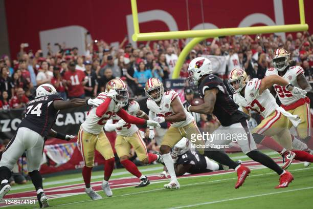 James Conner of the Arizona Cardinals rushes for a 1-yard touchdown during the game against the San Francisco 49ers at State Farm Stadium on October...