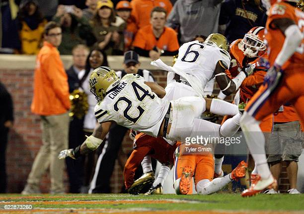 James Conner of the Pittsburgh Panthers dives for a touchdown during the game against the Clemson Tigers at Memorial Stadium on November 12 2016 in...