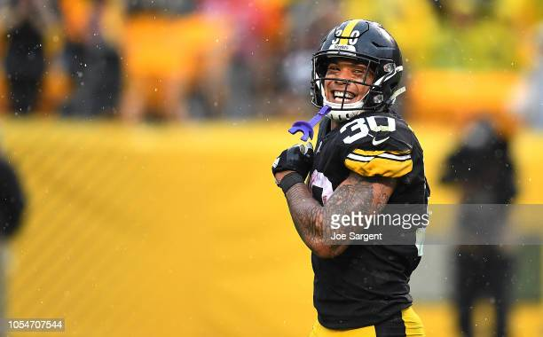 James Conner of the Pittsburgh Steelers celebrates after a 22 yard touchdown run during the fourth quarter in the game against the Cleveland Browns...