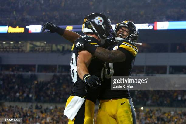 James Conner of the Pittsburgh Steelers celebrates his touchdown over the Cincinnati Bengals during the second quarter of the game at Heinz Field on...