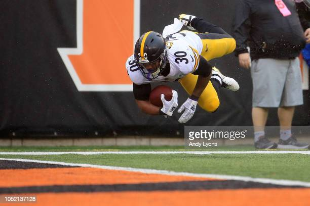 James Conner of the Pittsburgh Steelers dives for the endzone but lands at the one yard line during the third quarter of the game against the...