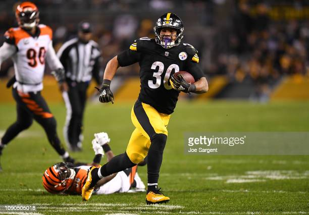 James Conner of the Pittsburgh Steelers in action during the game against the Cincinnati Bengals at Heinz Field on December 30 2018 in Pittsburgh...