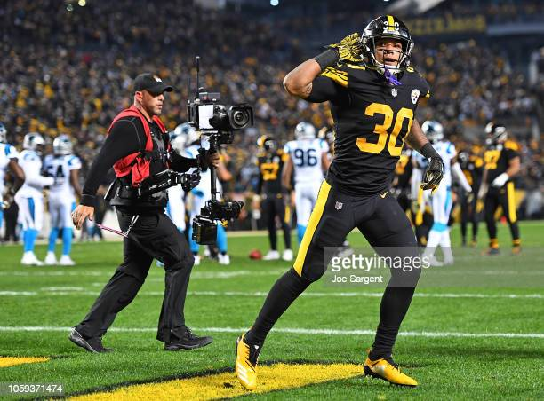 James Conner of the Pittsburgh Steelers reacts after a 2 yard touchdown run during the first quarter in the game against the Carolina Panthers at...