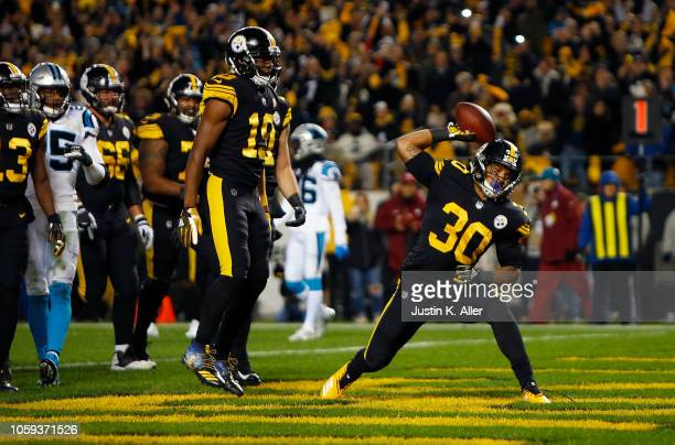 James Conner of the Pittsburgh Steelers reacts after a 2 yard touchdown run during the first quarter in the game Carolina Panthers at Heinz Field on...