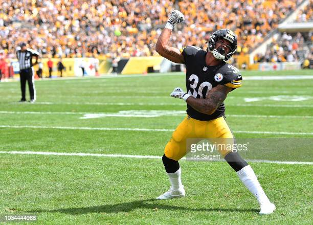James Conner of the Pittsburgh Steelers reacts after a successful two point conversion in the first half during the game against the Kansas City...