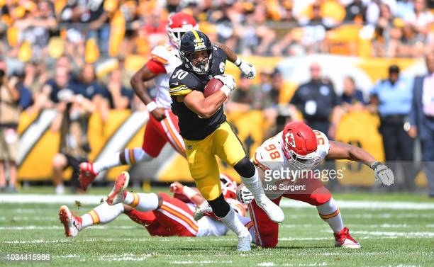 James Conner of the Pittsburgh Steelers runs the ball in the first half during the game against the Kansas City Chiefs at Heinz Field on September 16...