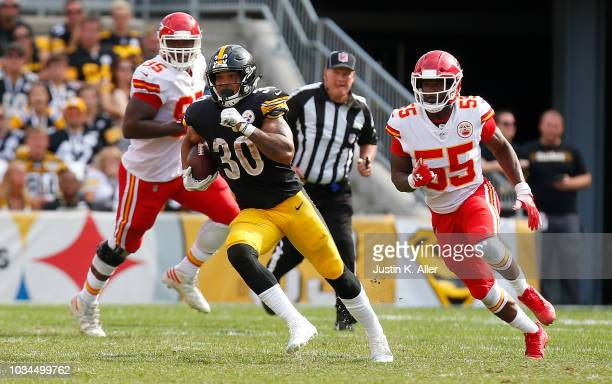 James Conner of the Pittsburgh Steelers runs the ball in the second half during the game against the Kansas City Chiefs at Heinz Field on September...