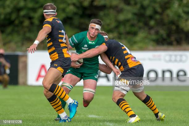 James Connolly of Connacht tackled by Joe Atkinson and Josh Bassett of Wasps during the Pre Season friendly match between Connacht Rugby and Wasps at...