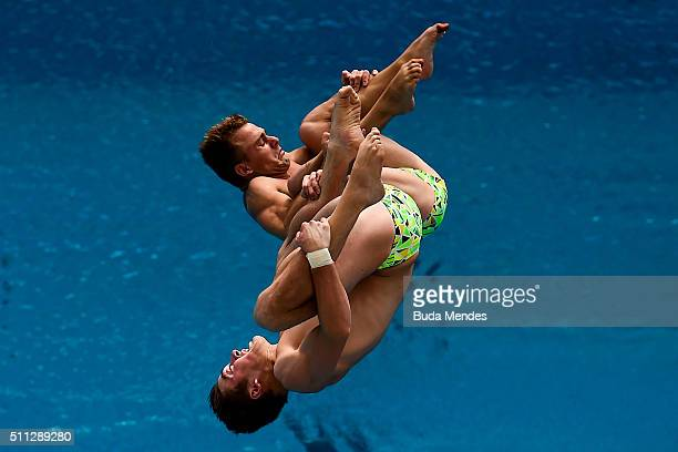 James Connor and Grant Nel of Australia compete in the men's 3m synchro springboard preliminary as part of the 2016 FINA Diving World Cup at Maria...