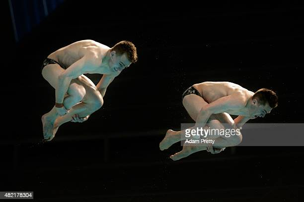 James Connor and Grant Nel of Australia compete in the Men's 3m Springboard Synchronised Diving Preliminary on day four of the 16th FINA World...