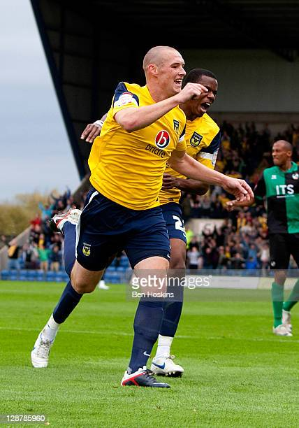 James Constable of Oxford celebrates after scoring the opening goal of the npower League Two match between Oxford United and Bristol Rovers at The...