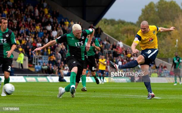 James Constable of Oxford scores the opening goal of the npower League Two match between Oxford United and Bristol Rovers at The Kassam Stadium on...