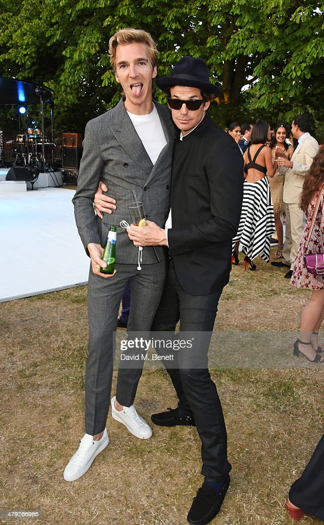 James Cook (L) and Hugo Heathcote attend The Serpentine Gallery summer party at The Serpentine Gallery on July 2, 2015 in London, England.