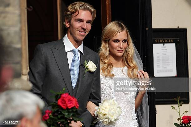 James Cook and Poppy Delevingne at their wedding at St Pauls Church Knightsbridge on May 16 2014 in London England