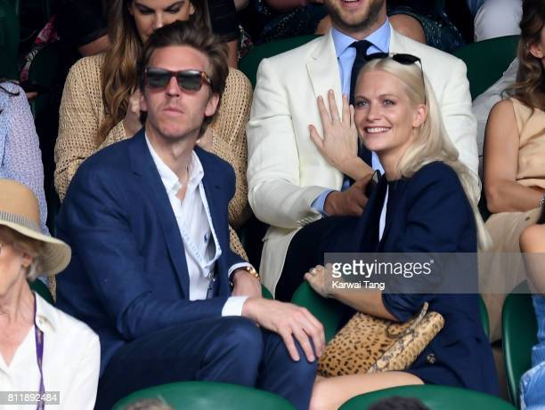 James Cook and Poppy Delevingne attend day seven of the Wimbledon Tennis Championships at the All England Lawn Tennis and Croquet Club on July 10...