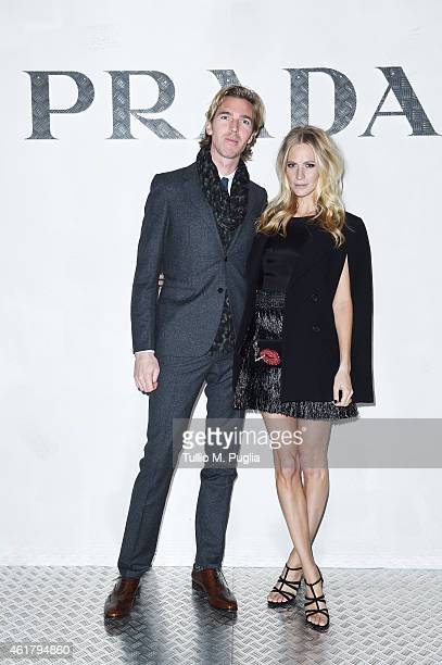 James Cook and Poppy Delevingne attend the Prada Journal event during the Milan Menswear Fashion Week Fall Winter 2015/2016 on January 19 2015 in...