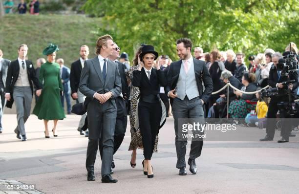 James Cook Cara Delevingne and Derek Blasberg arrive ahead of the wedding of Princess Eugenie of York to Jack Brooksbank at Windsor Castle on October...