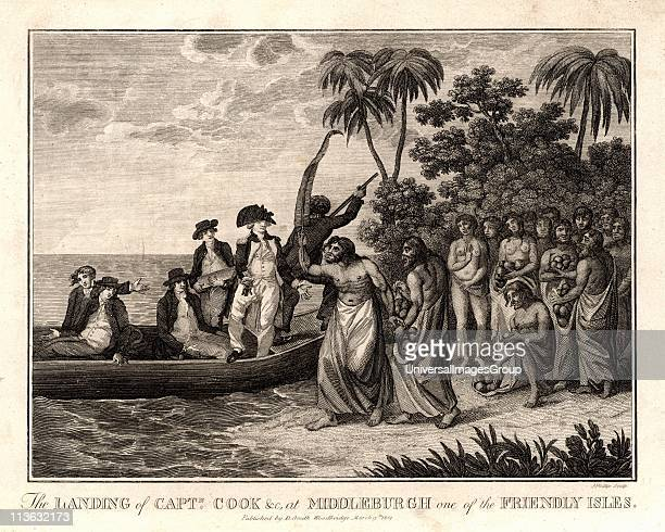 James Cook English explorer and navigator and hydrographer landing on the Friendly Islands in 1773 From Captain Cook's Original Voyages Round the...