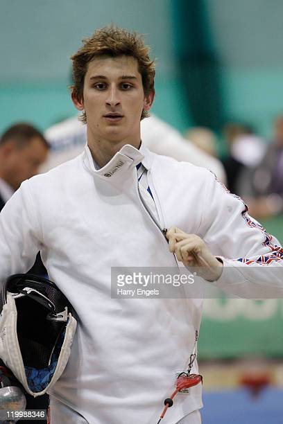 James Cooke of Great Britain in action during the men's semi final round at the modern pentathlon European Championships at Medway Park on July 28...
