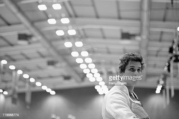 James Cooke of Great Britain looks on during the men's semi final round at the modern pentathlon European Championships at Medway Park on July 28...