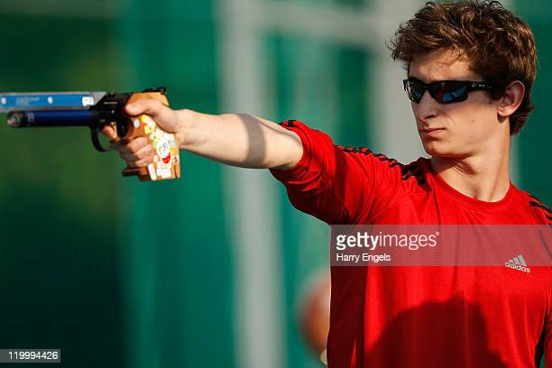 James Cooke of Great Britain shoots during the Combined Event during the men's semi final round at the modern pentathlon European Championships at...