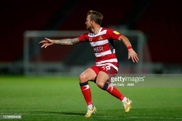 James Coppinger of Doncaster Rovers during the EFL Trophy match between Doncaster Rovers v Bradford City at Keepmoat Stadium on September 8 2020 in...