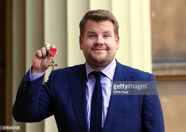 James Corden after being awarded an OBE by the Princess Royal at an investiture ceremony at Buckingham Palace on June 25, 2015 in London, England.