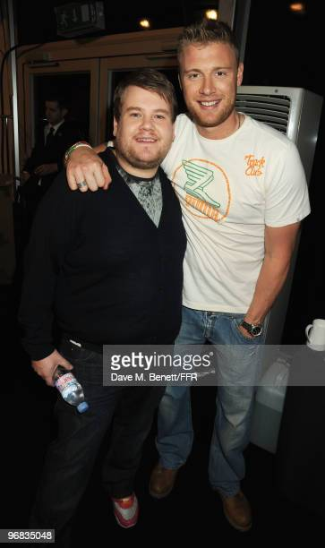 James Corden and Andrew Flintoff pose backstage during Naomi Campbell's Fashion For Relief Haiti London 2010 Fashion Show at Somerset House on...
