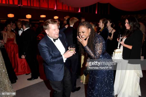 James Corden and Ava DuVernay attend the 2018 Vanity Fair Oscar Party hosted by Radhika Jones at Wallis Annenberg Center for the Performing Arts on...