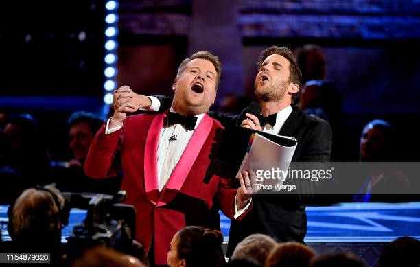 James Corden and Ben Platt perform onstage during the 2019 Tony Awards at Radio City Music Hall on June 9 2019 in New York City