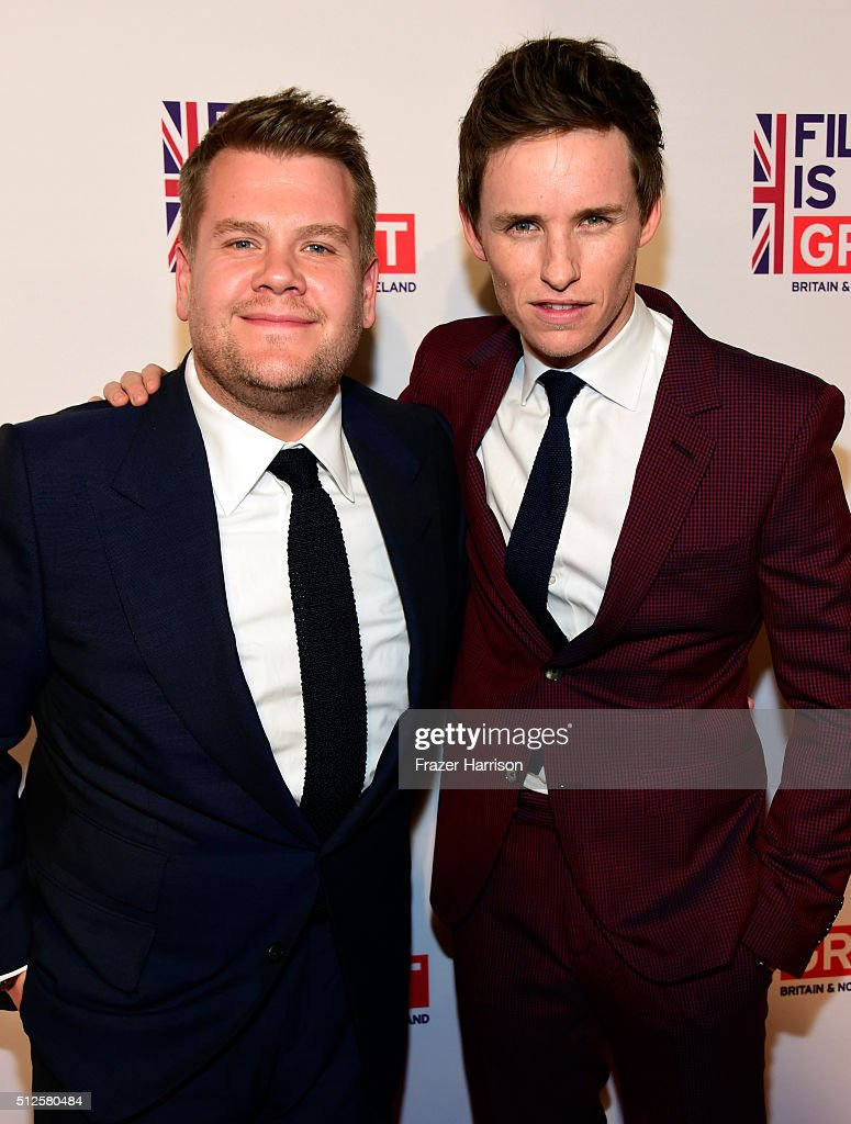 James Corden (L) and Eddie Redmayne attend the Film is GREAT Reception at Fig & Olive on February 26, 2016 in West Hollywood, California.