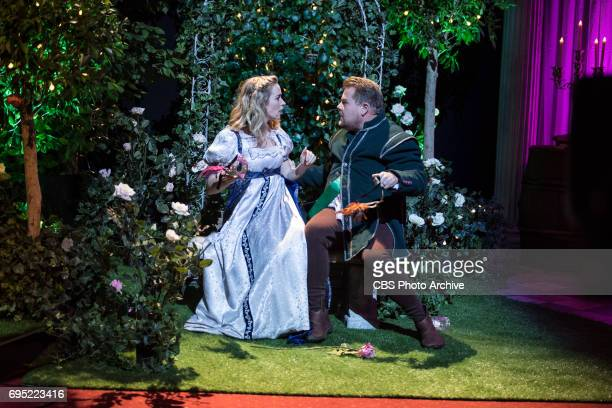 James Corden and Emily Blunt perform Rom Com the Musical on The Late Late Show with James Corden airing Thursday June 8th 2017 from London On The CBS...