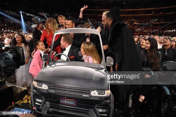 James Corden and Jennifer Lopez during The 59th GRAMMY Awards at STAPLES Center on February 12 2017 in Los Angeles California