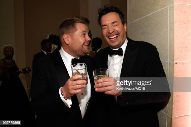 James Corden and Jimmy Fallon attend the Heavenly Bodies Fashion The Catholic Imagination Costume Institute Gala at The Metropolitan Museum of Art on...
