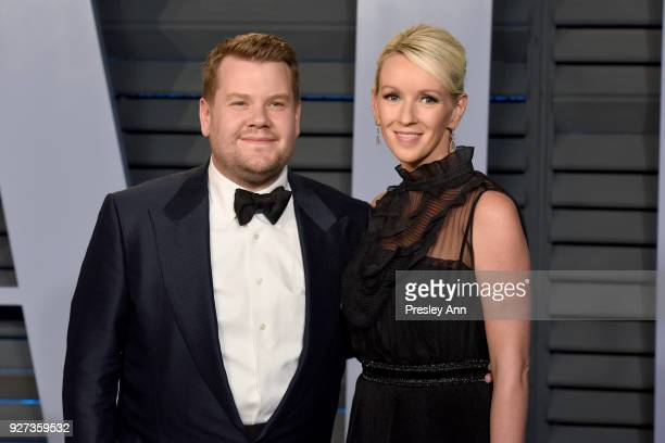 James Corden and Julia Carey attend the 2018 Vanity Fair Oscar Party Hosted By Radhika Jones Arrivals at Wallis Annenberg Center for the Performing...