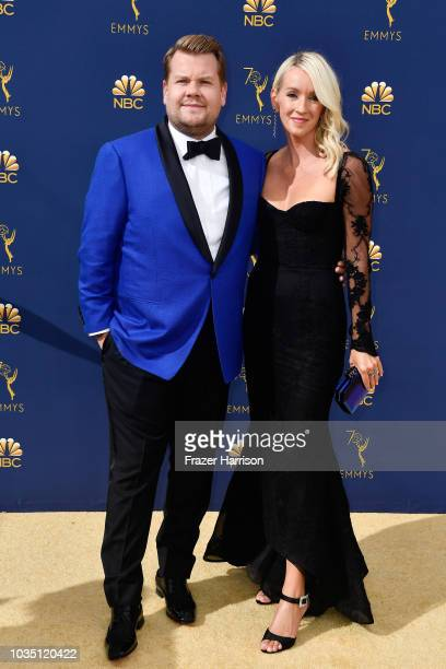 James Corden and Julia Carey attend the 70th Emmy Awards at Microsoft Theater on September 17 2018 in Los Angeles California