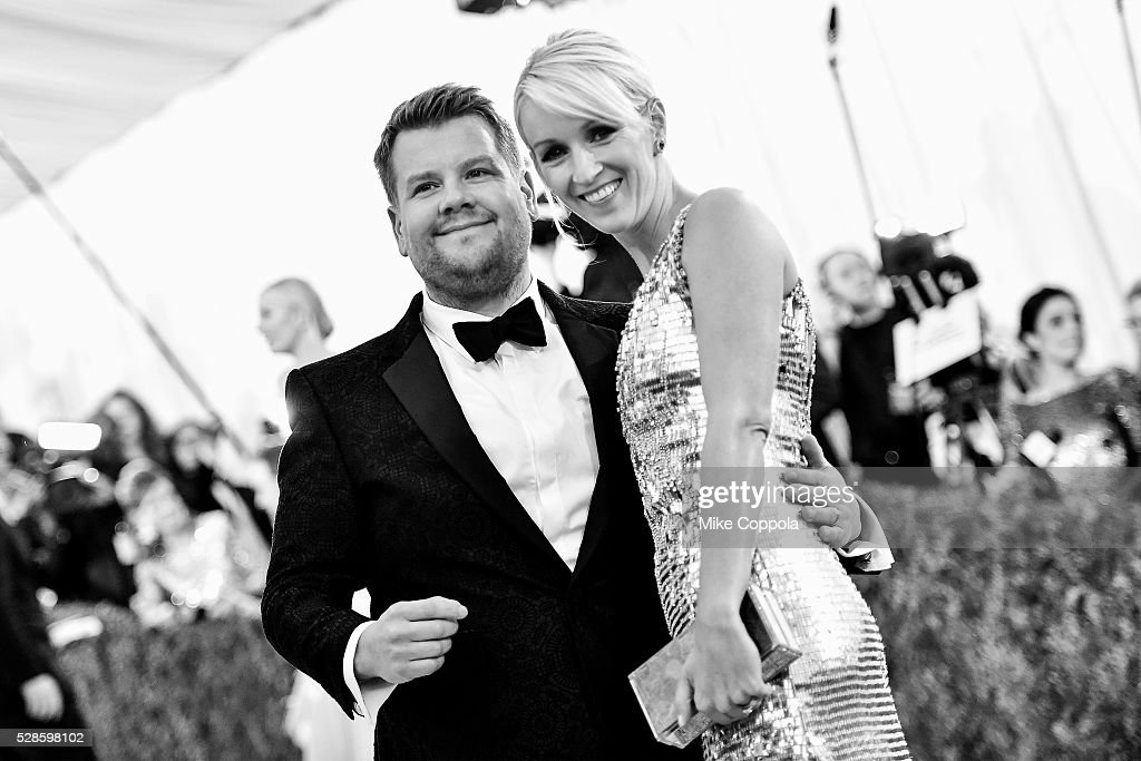 James Corden (L) and Julia Carey attend the 'Manus x Machina: Fashion In An Age Of Technology' Costume Institute Gala at Metropolitan Museum of Art on May 2, 2016 in New York City.