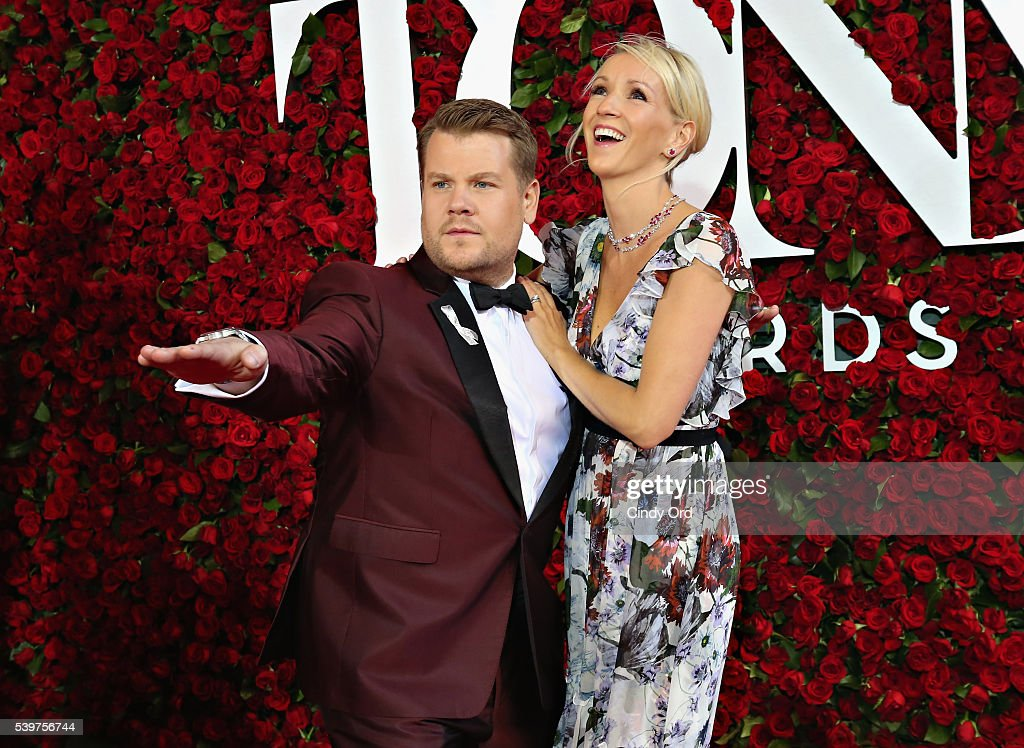 James Corden (L) and Julia Carey pose for a photo at the Nordstrom photo booth at the 70th Annual Tony Awards at The Beacon Theatre on June 12, 2016 in New York City.