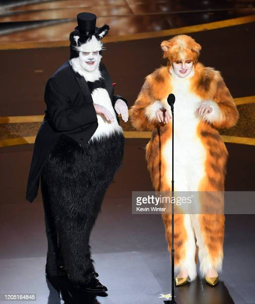James Corden and Rebel Wilson speak onstage during the 92nd Annual Academy Awards at Dolby Theatre on February 09 2020 in Hollywood California