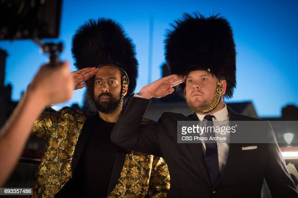 James Corden and Reggie Watts behind the scenes of filming the title sequence for The Late Late Show with James Corden airing the first week of June...