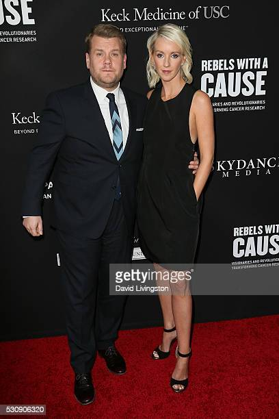James Corden and wife Julia Carey arrive at the 3rd Biennial Rebels with a Cause Fundraiser on May 11 2016 in Santa Monica California