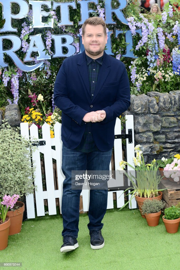 James Corden attends the Peter Rabbit Gala Premiere at Vue West End on March 11, 2018 in London, England.